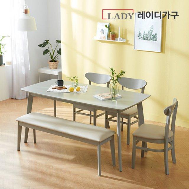알로 6인 식탁세트 (벤치1,의자3)
